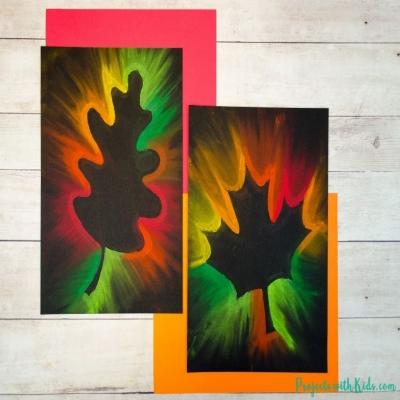 Gorgeous fall leaf chalk pastel art for kids