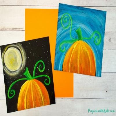 Pumpkin chalk pastel art project - fall craft for kids