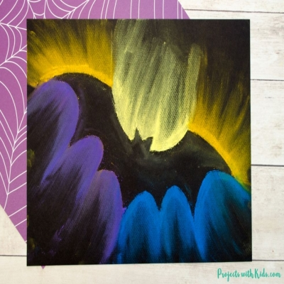 Spooky bat chalk pastel art  for kids - Halloween craft
