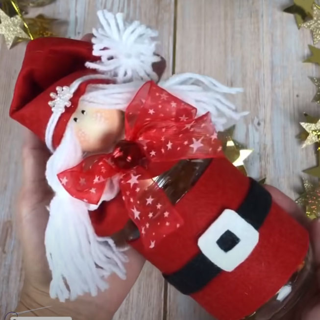DIY Christmas gnome jar ( mason jar gift box )