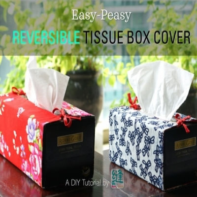 Reversible tissue box cover - free sewing pattern & tutorial