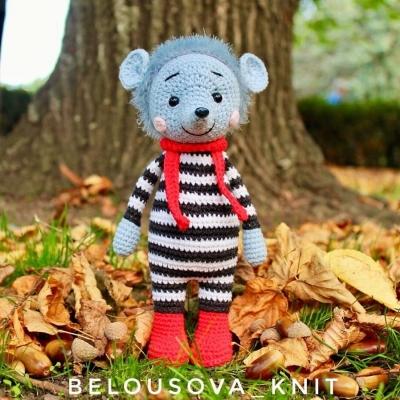 Lucky the amigurumi hedgehog in striped dress (free crochet pattern)