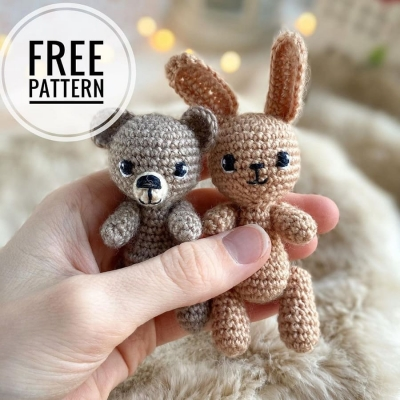 Tiny amigurumi bear and bunny (free amigurumi patterns)