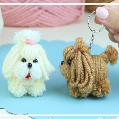 DIY Yarn dog keychain ( yarn puppy )