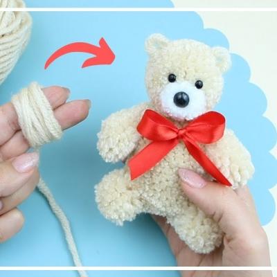 DIY Pompom bear ( yarn bear)