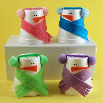 Foam cup snowmen - winter kids craft idea