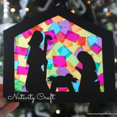DIY Stained glass nativity (with printable silhouette)