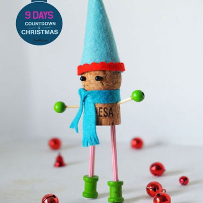 DIY Wine cork elf - Christmas craft for kids