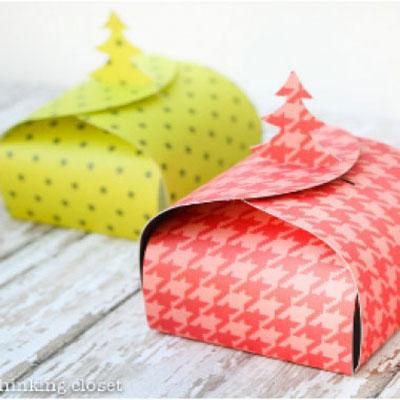Christmas tree gift boxes (with printable template)