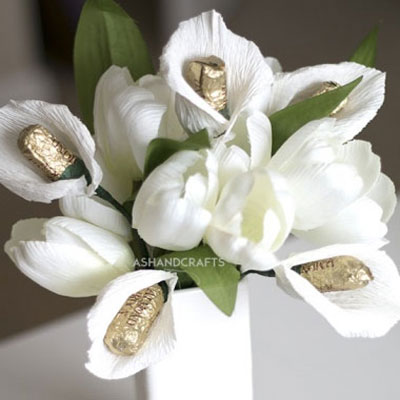 Crepe paper calla lily with chocholate