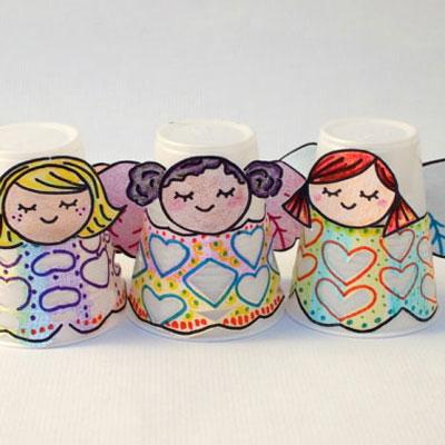Plastic cup angels