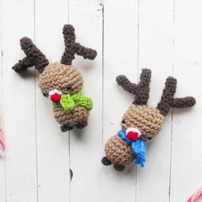 Crocheted amigurumi Rudolph reindeers
