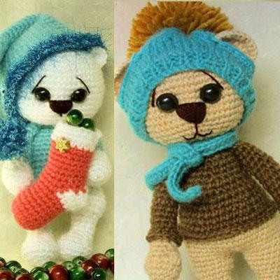 Cute winter amigurumi (crocheted) bears