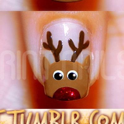 DIY Rudolph reindeer (christmas) manicure