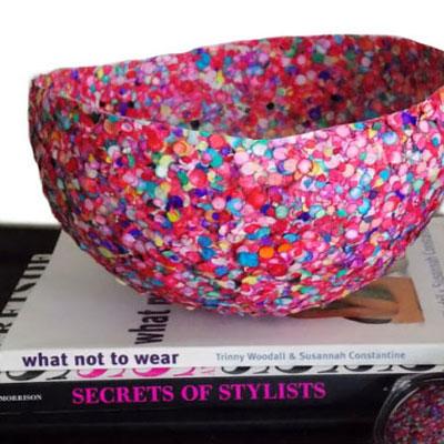 Confetti paper-mache bowl