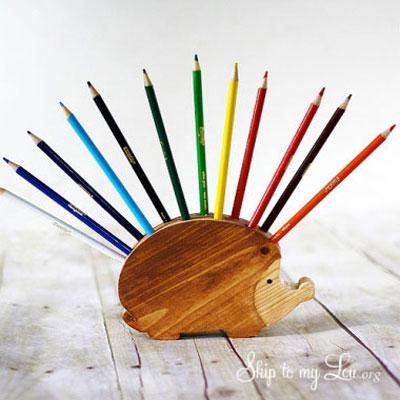 Wooden handmade hedgehog pencil holder