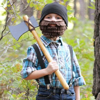 Lumberjack with beard and axe - halloween costume