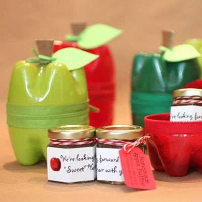 Upcycled plastic bottle apple containers