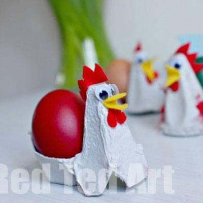 Egg carton crafts - chicken egg cup