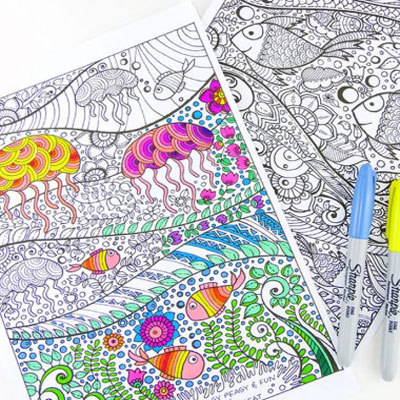 Under the sea - coloring book pages for adults
