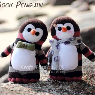 Adorable sock penguins - softie toy