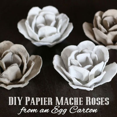Upcycled egg carton flowers / roses