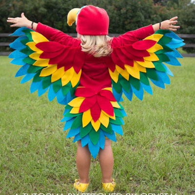 DIY  easy sewn parrot (bird) costume