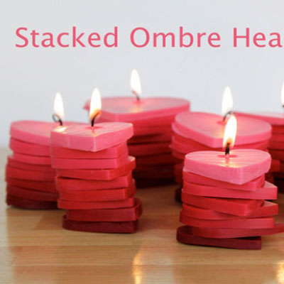 Stacked ombre Valentine's day heart candles