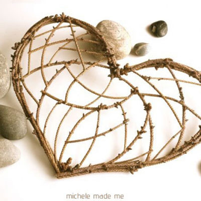 DIY twig and cereal box heart decoration