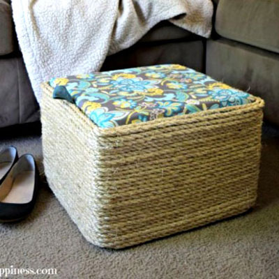 DIY Sisal rope ottoman from a plasctic (milk) crate