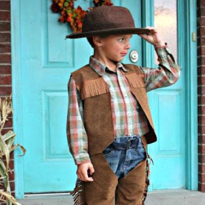 DIY kids costume - cowboy chaps and vest