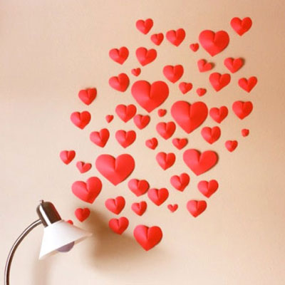 DIY paper heart wall - Valentine's day home decor
