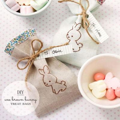 DIY Wee brown bunny treat bags - sewn easter gift bags