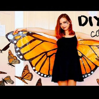 DIY Monarch butterfly wings from garbage bags