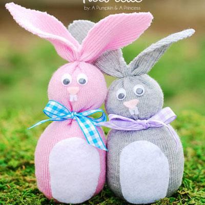 Sock bunny - easter craft for kids