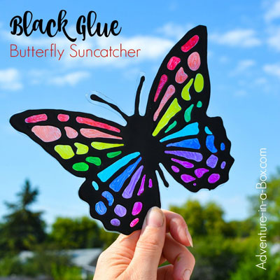 DIY Black glue butterfly suncatcher (free printable template)