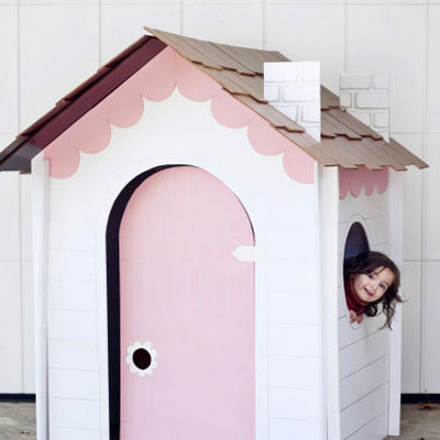 Collepsible playhouse from cardboard