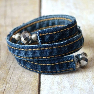 Upcycled denim wrap bracelet