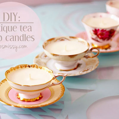 DIY Antique tea cup candle - candle making tutorial