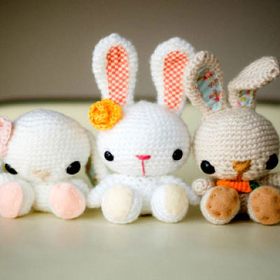 Cute miniature amigurumi easter / spring bunnies