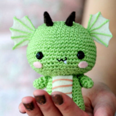Cute crocheted (amigurumi) dragon - with crochet patern