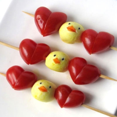 Mini mozzarella chicks with cherry tomato hearts - skewers