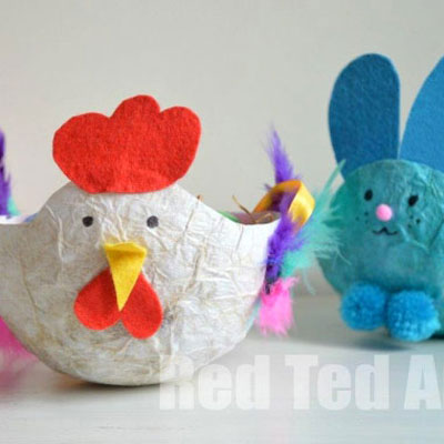 Paper mache easter bowls (bunny and chicken) - easter kids craft