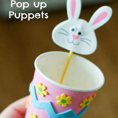 DIY Pop up Easter bunny puppet  - Easter craft for kids