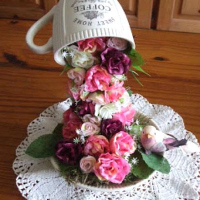 DIY Floating teacup flower topiary