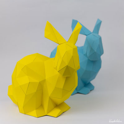 3D paper easter bunny statue ( with printable )