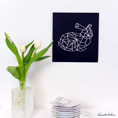 DIY geometrical easter bunny yarn art ( with printable )