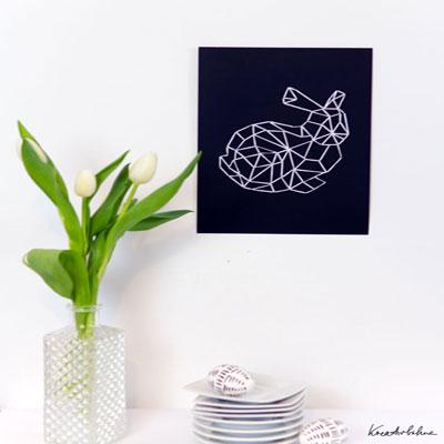 DIY geometrical easter bunny yarn art ( with printable )