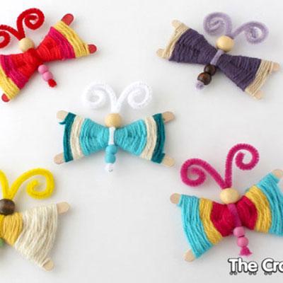 Woven craft stick butterflies - spring kids craft