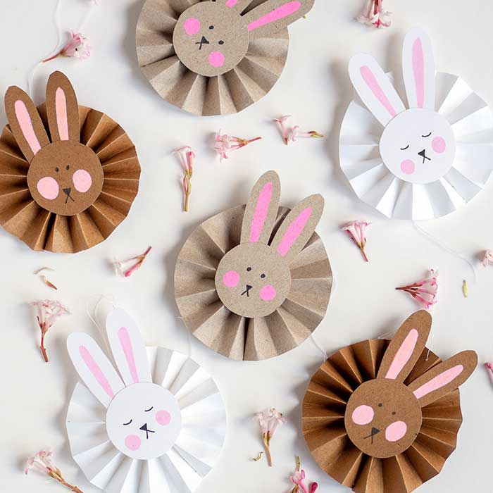Paper Easter bunny rosettes - fun Easter craft for kids